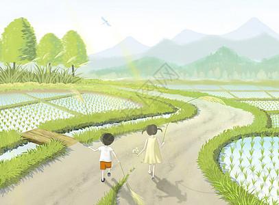 暑假乡间田园游玩的小孩子图片
