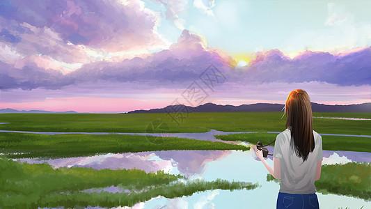 站在田野里的女孩图片