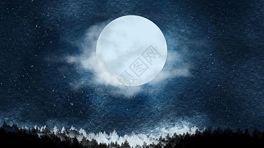水彩手绘高清夜晚