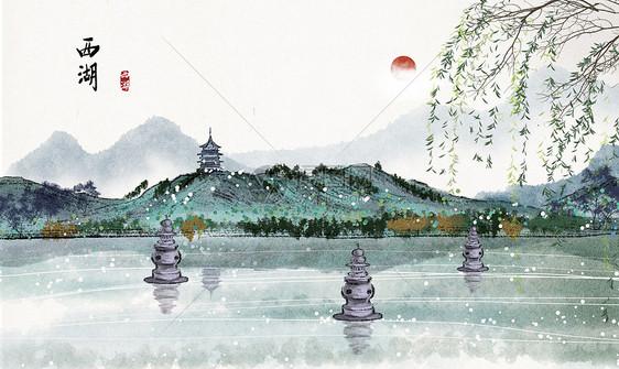 西湖水墨画图片