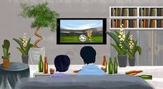 看世界杯插画场景图片