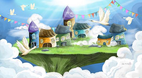 空中之城场景插画背景图片