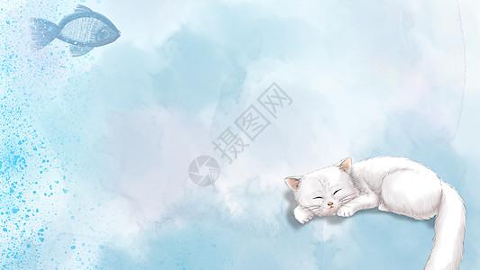 手绘水彩宠物猫咪背景图片