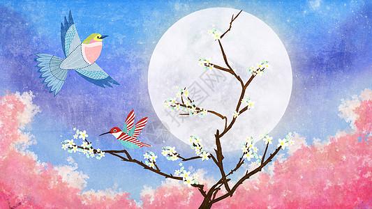 月光下的小鸟与梅花树清新插画图片