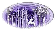 唯美森林麋鹿立体剪纸图片
