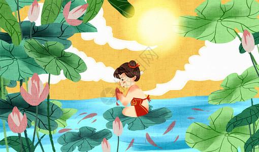 夏天福娃在荷塘中玩耍插画图片