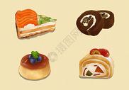 可口小蛋糕甜品插画图片