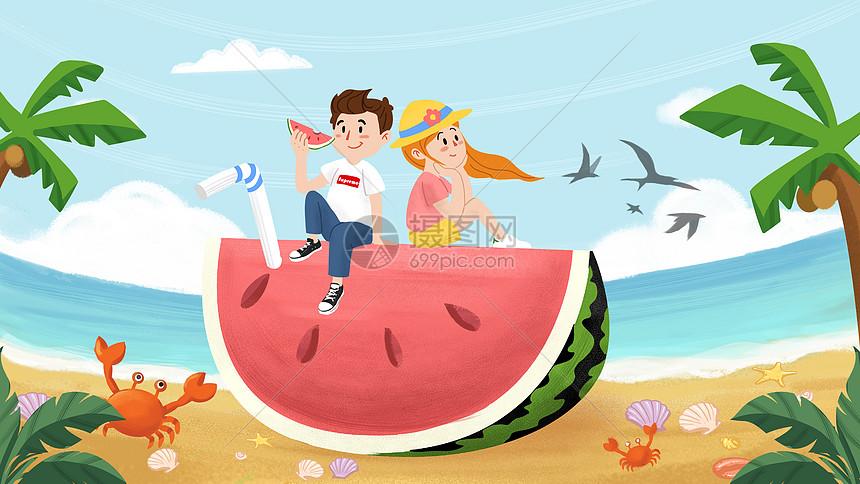 夏天情侣海边旅行插画图片