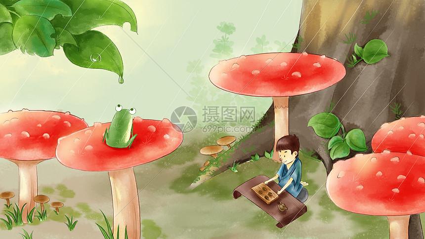 夏日森林雨季野营小暑采风图片