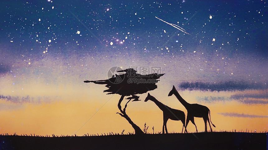 长颈鹿治愈插画图片