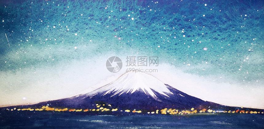 富士山夜幕治愈插画图片