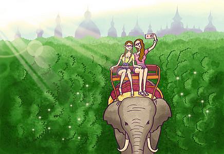 美女在泰国旅游骑大象自拍图片