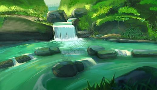 夏天山谷溪流图片