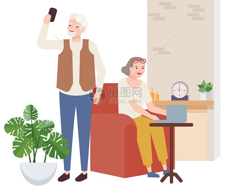温馨老人生活场景图片