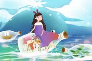 梦幻唯美旅行插画图片