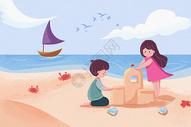 夏日海滩图片