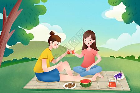 闺蜜假期草地野餐图片