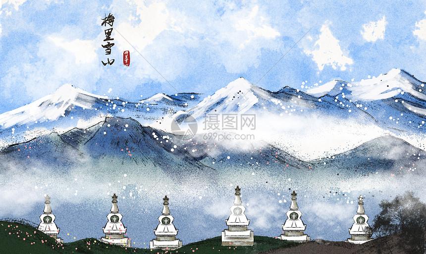 梅里雪山水墨画图片