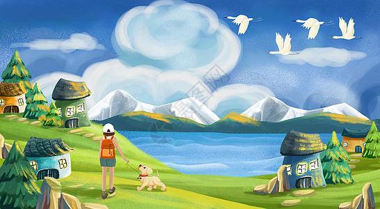 带狗去看童话镇图片