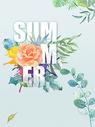 水彩植物背景 summer图片