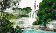 黄果树瀑布水墨画图片