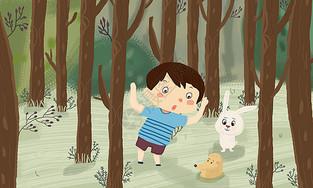 森林里小男孩与动物玩耍图片