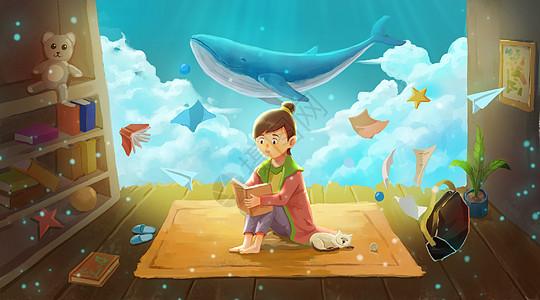 在梦幻场景中看书的小女孩图片