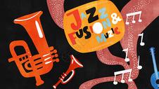 扁平风趣味音乐爵士乐休闲娱乐插画图片