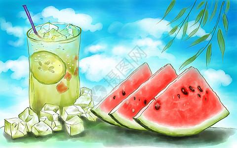 西瓜冰饮图片