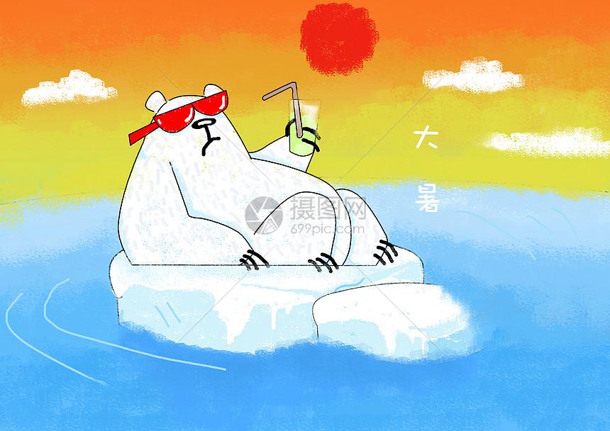 大暑北极熊插画图片