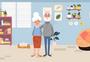 矢量清新柔色老年人惬意生活唯美插图图片
