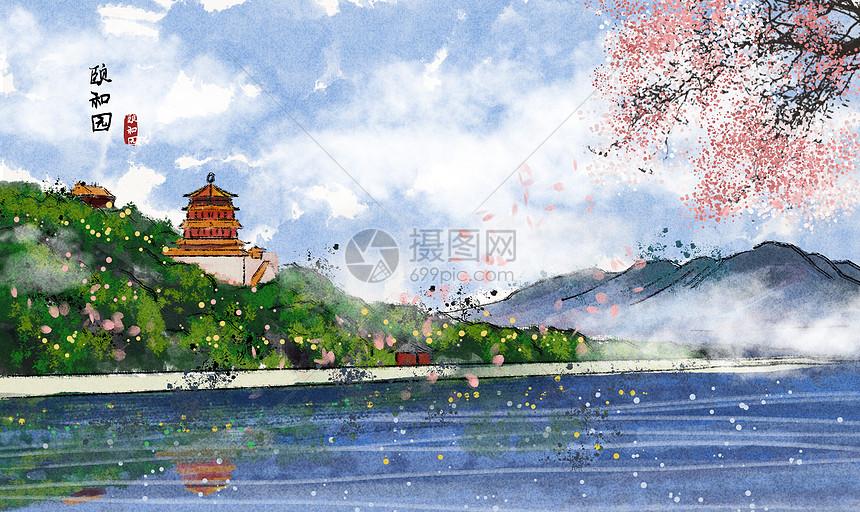 颐和园水墨画图片