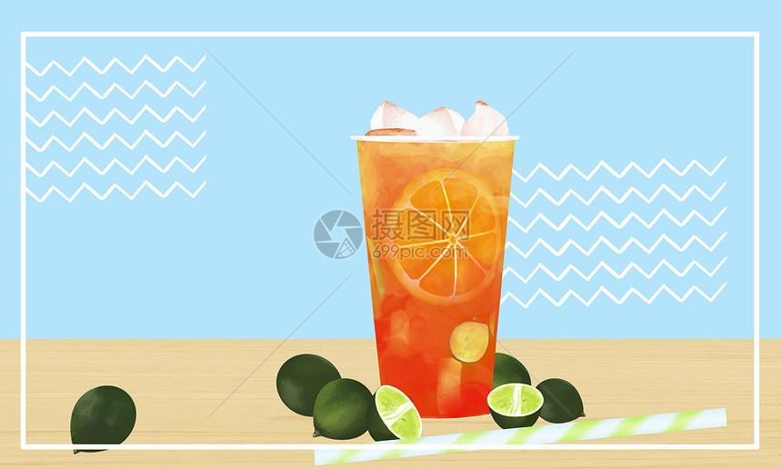 夏季清爽背景橙汁图片