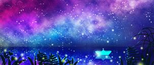 星空与萤火的夏夜之旅图片