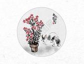 杜鹃花与兔子中国风水墨画图片