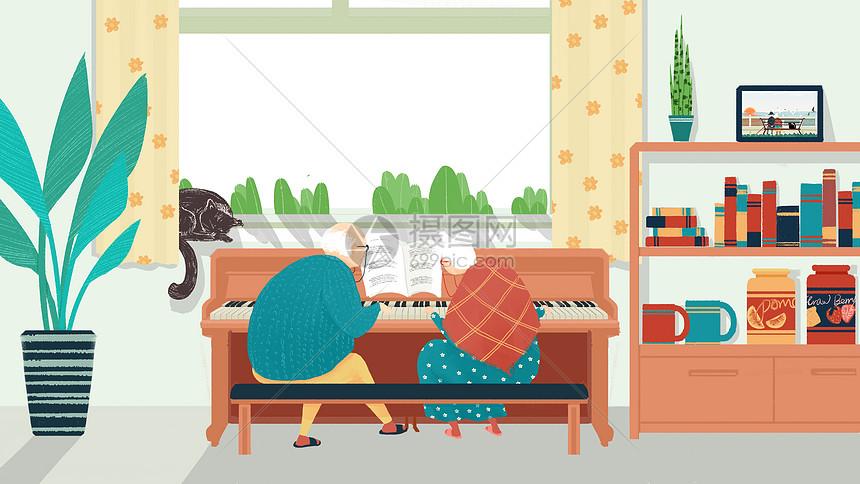 手绘老年生活弹钢琴图片