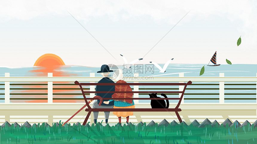 手绘海边长椅上的老夫妻图片