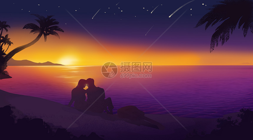 夕阳海边情侣浪漫图片