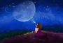 童年童趣夏夜星空下的魔法女孩图片