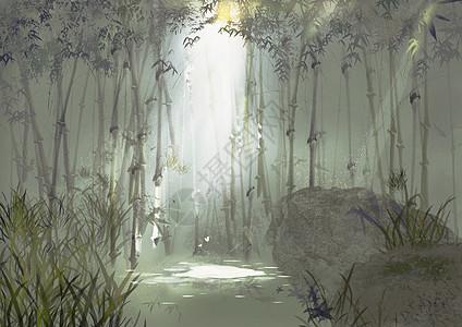 唯美素雅竹林光影中国风背景插画图片
