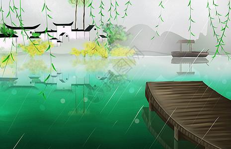 江南雨景图片