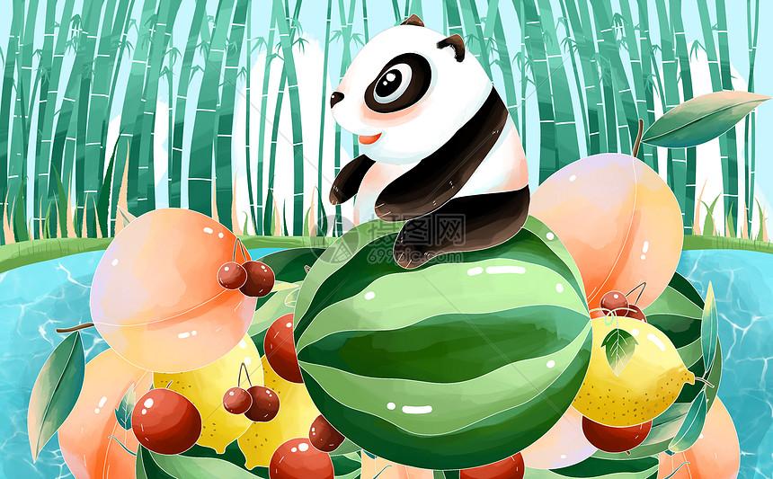 夏季熊猫图片