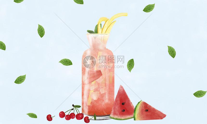 夏季饮品插画图片