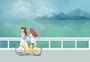 海边漫步的女孩图片