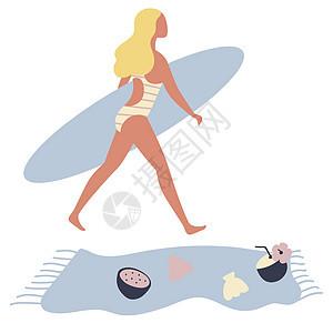 海边度假风情激情冲浪女人图片