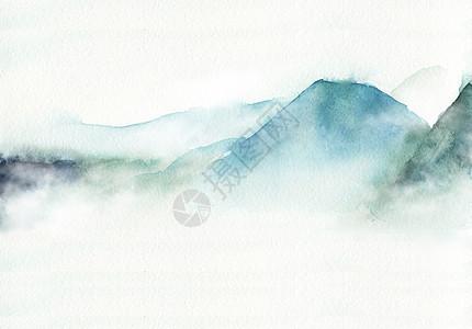 水彩远山图片