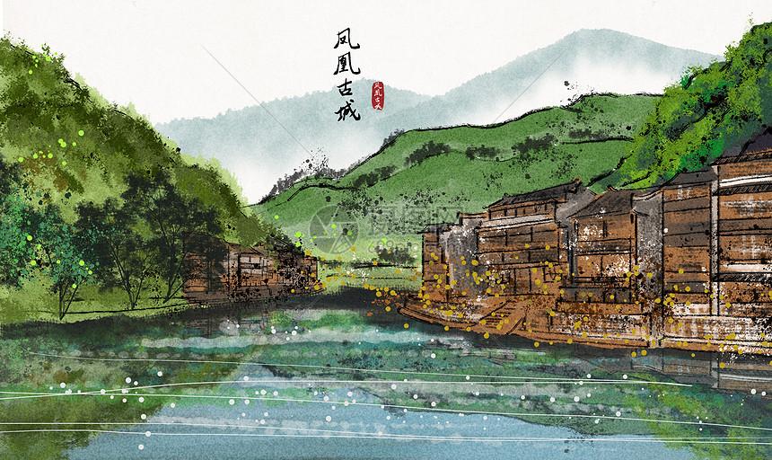 凤凰古城水墨画图片