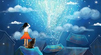 梦幻星空下的女孩儿图片