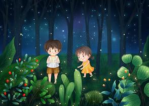 童年童趣仲夏夜捉萤火虫图片