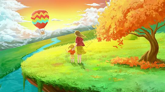 夕阳下遥望热气球的母女图片